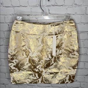 NEW Line & Dot Metallic Gold Leaf Foil Print Skirt